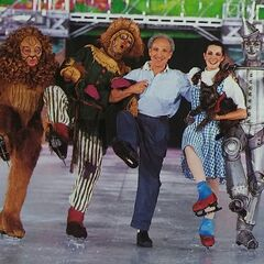 <b>Director Jerry Bilik of The Wizard Of Oz: On Ice with Jeri Campbell as Dorothy, Andrei Kirov as Scarecrow, Brent Frank as Tin Woodman, and Mark Richard Farrington as Cowardly Lion</b>