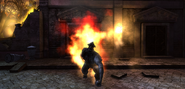 Fire spectre with visible body attack