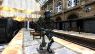 Skeleton Soldier in Train Station