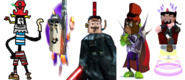 Devious Diesel as Razorbeard, Zorran as Ripto, Oliver the Vast as Dr. Neo Cortex, Cat. R Waul as Baron Dante, and Ben Ravencroft as Specter.