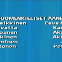 Cast credits on Yle TV2 for the episodes