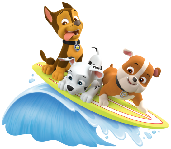 File:PAW Patrol Marshall Rubble Chase Summer Surfboard.png