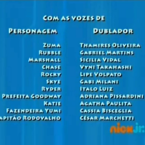 Dubbing cast credits on Nick Jr. for the first dubbing of the episodes