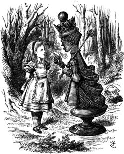 Tenniel red queen with alice