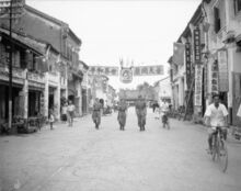 Men of the Royal Air Force Regiment on foot patrol in George Town, Penang