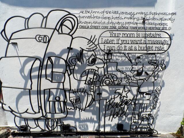 File:Budget Hotel iron sculpture, Love Lane, George Town, Penang.JPG