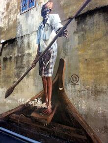 Indian Boatman wall mural, Klang Street, George Town, Penang