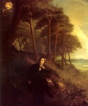 A Romantic painting of Keats sitting near a wood on elevated land. It is evening and the full moon appears above the wood while fading daylight illuminates a distant landscape. Keats appears to turn suddenly from the book he has been reading, towards the trees where a nightingale is silhouetted against the moon.