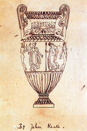 """A fine-line drawing of an urn. It is tall, with high scrolled handles. Around the middle is a frieze of figures, of which four can be seen. From left to right, a naked man with a helmet and sword, a dancing woman in a flowing garment, a robed woman carrying a spear and a naked man with a cloak hanging from his shoulder. The drawing is inscribed """"By John Keats""""."""