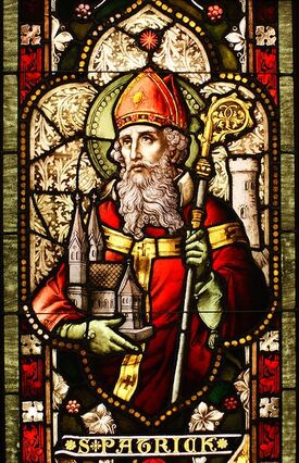 St. Patrick stained glass window in Cathedral of Christ the Light, Oakland, CA