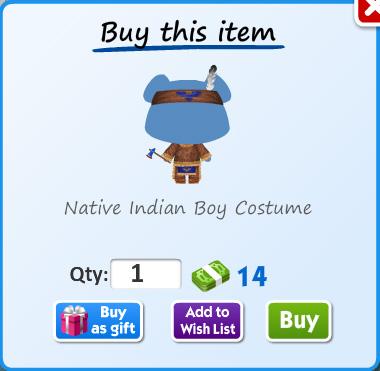 Native indian boy costume