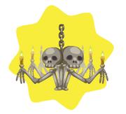 Haunted skeleton chandelier