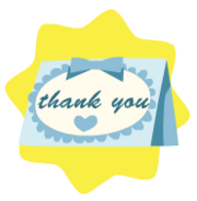 Blue thank-you card