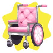 Pink wheelchair