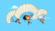 Girls parachuting