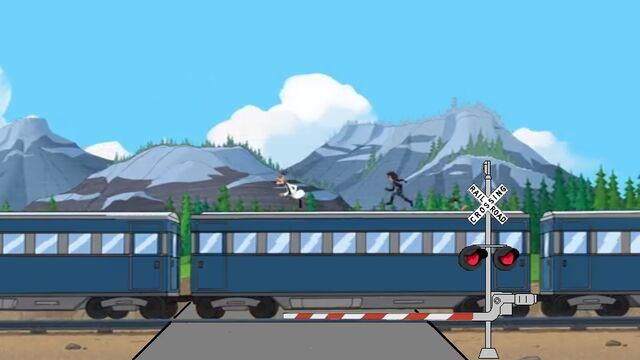 File:Train with railroad crossing.jpg