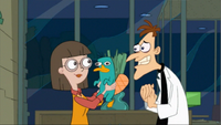 Doofenshmirtz's date cuddles Perry