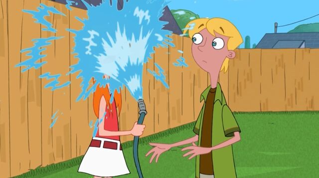 File:Candace getting sprayed by water from the hose.jpg