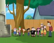 Phineas, Ferb, and the gang on their backyard