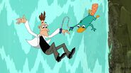 Doofenshmritz and Perry falling down a waterfall