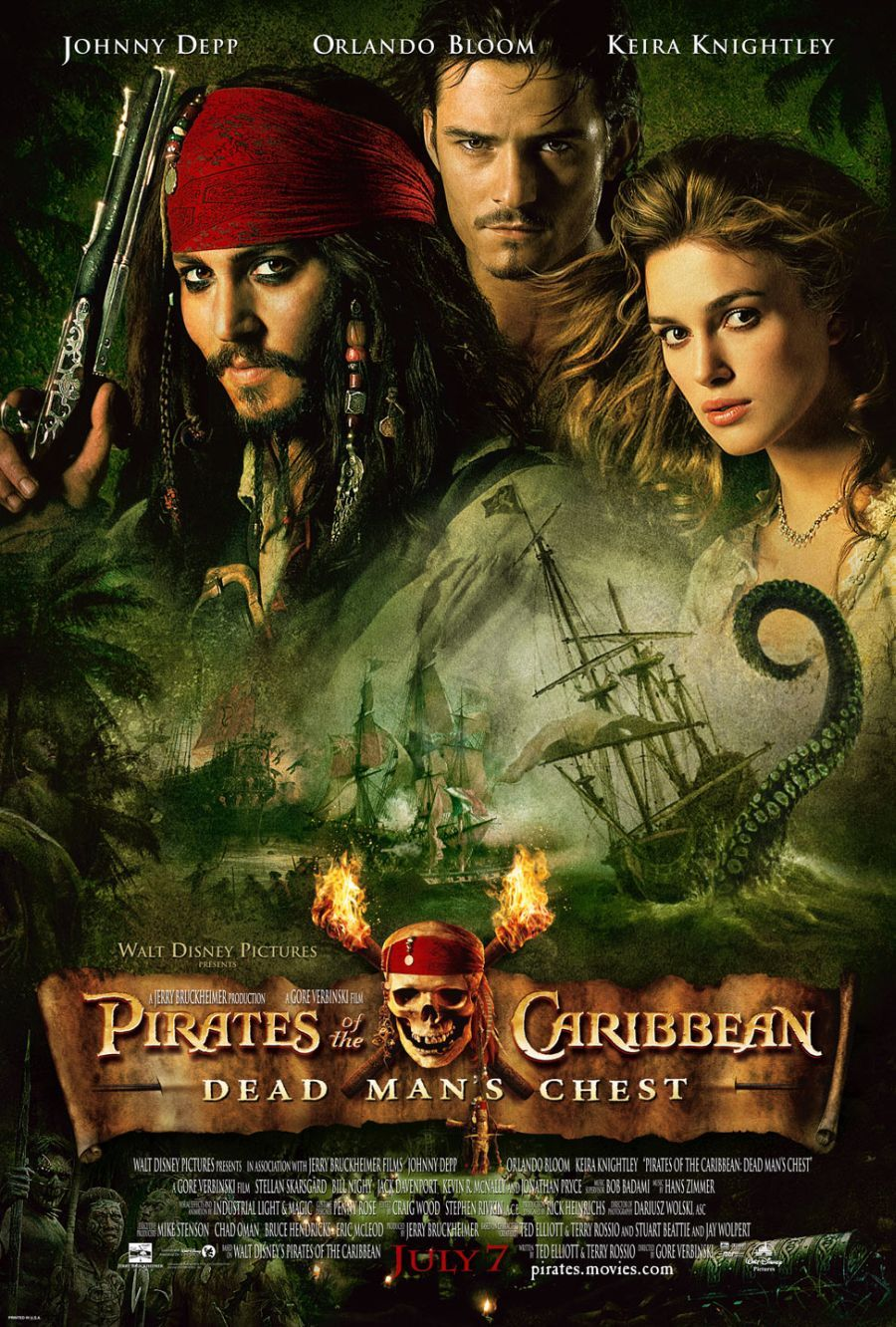 「Pirates of the Caribbean: Dead Man's Chest poster」の画像検索結果