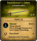 Swordsman's Sabre Card