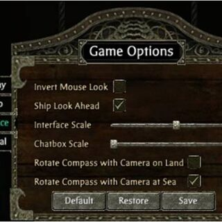 Interface options.