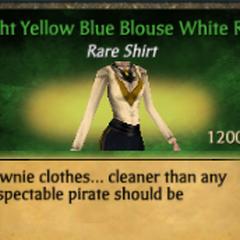 Light Yellow Blue Blouse White Ruff