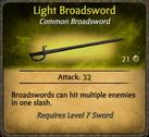 Light Broadsword Card