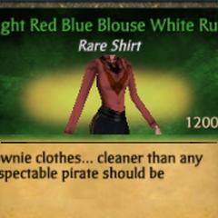 Light Red Blue Blouse White Ruff