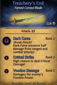 Treachery's end card