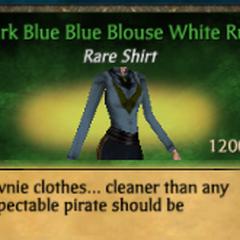 Dark Blue Blue Blouse White Ruff