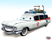 What Ecto 1 from Ghostbusters would look like as a Pixar Cars character