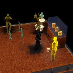 Sim umierający poprzez '<b>Transmutację</b> (widać pomnik przy Kamieniu Filozoficznym)