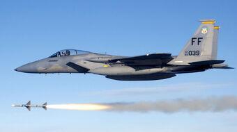 USAF F-15C fires AIM-7 Sparrow 2