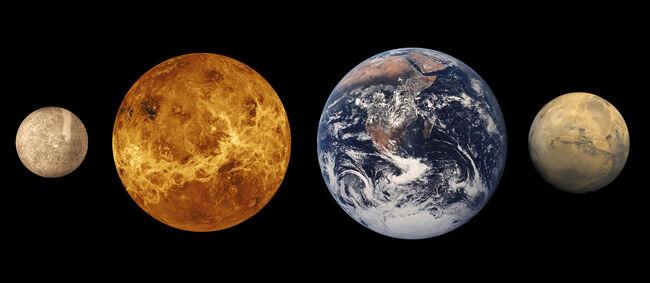Terrestrial planet size comparisons