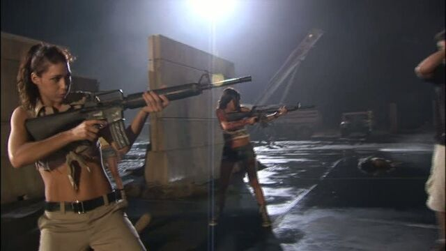 File:The Badass Babes of Planet Terror, Emmy Robbin with an M16A2 and Electra Avellan with an M16 or M16A1..jpg