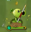A Peashooter is attacked by the pole of Pole Vaulting Zombie