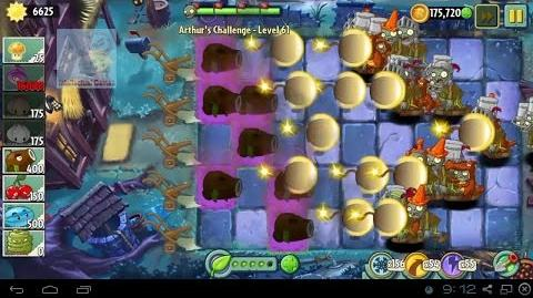 Arthur's Challenge Level 61 to 65 CocoNutCanon WinterMelon's Battle Plants vs Zombies 2 Dark Ages