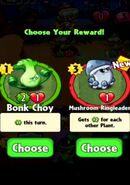 Choice between Bonk Choy and Mushroom Ringleader