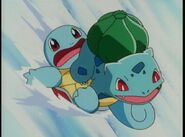 Bulbasaur and Squirtle go sledding