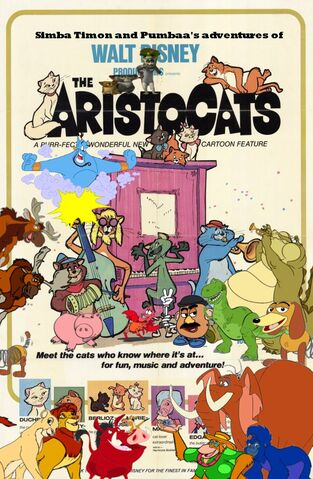 File:Simba Timon and Pumbaa's adventures of The Aristocats Poster.jpg