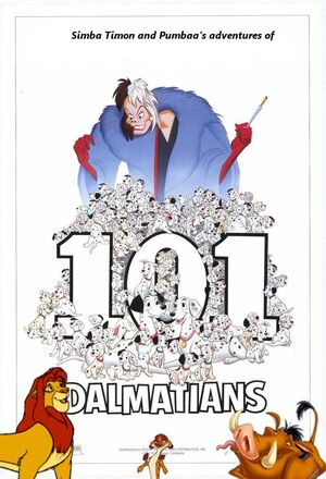 Simba Timon and Pumbaa's adventures of 101 Dalmatians poster