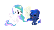 Baby Cellestia playing with baby Luna