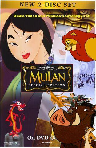 File:Simba Timon and Pumbaa's adventures of Mulan Poster.jpg