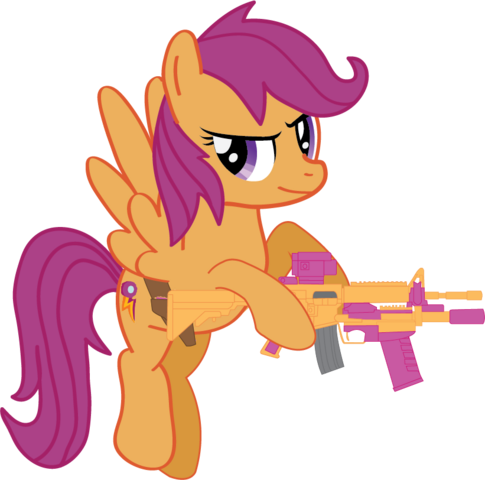 File:Scootaloo with her weapons.png