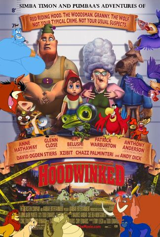 File:Simba Timon and Pumbaa's adventures of Hoodwinked Poster.jpg