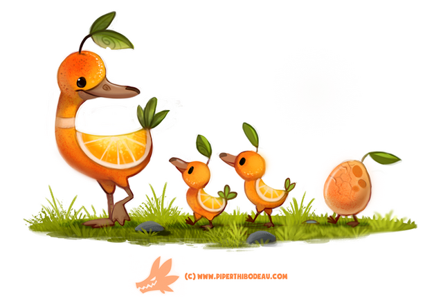File:Daily paint 1268 duck a l orange by cryptid creations-da2a0q7.png