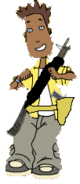 Carver with weapons