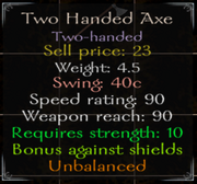 Two Handed Axe Stats